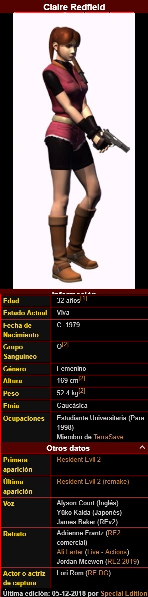 Resident Evil 2  (Claire A)+ info Claire