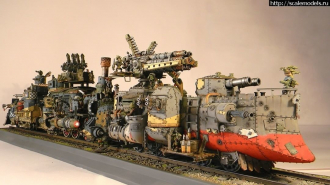 #Escultura @arcane_rubber_hobby Warhammer Ork Battle Train por Scalemodels.ru