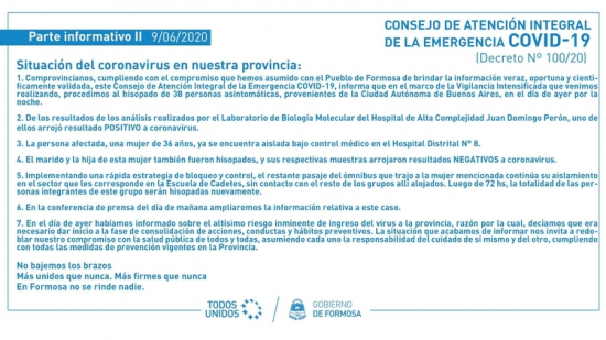 Primer contagio de coronavirus en Formosa published in Noticias